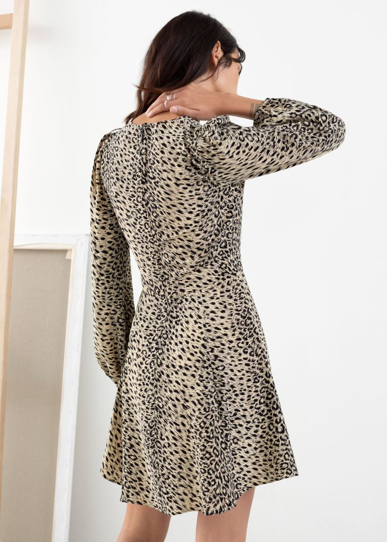 And Other Stories Flowy Leopard Print Mini Dress back view