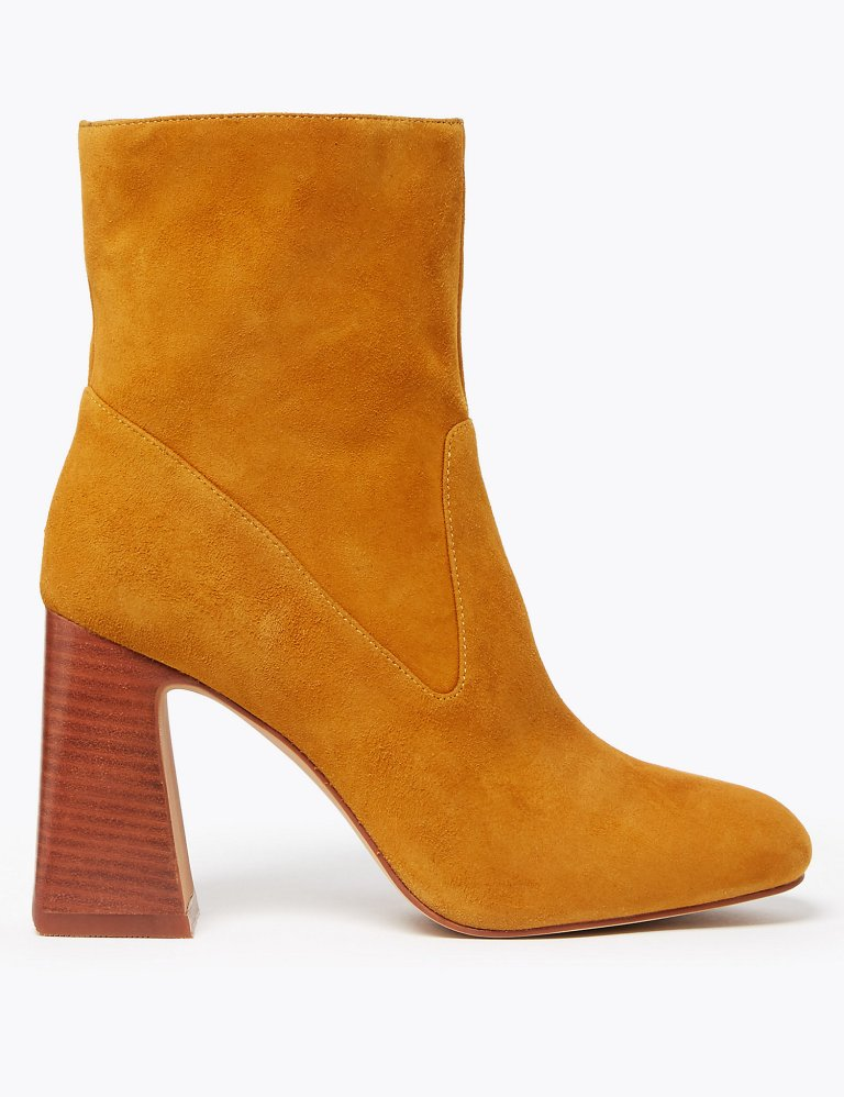 Autograph Suede Square Toe Flared Heel Ankle Boots