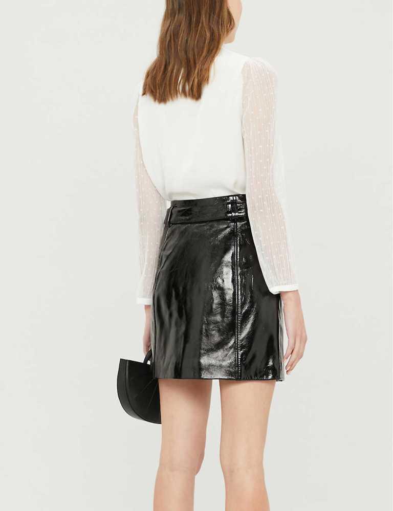 Claudie Pierlot Casino patent-leather mini skirt back view