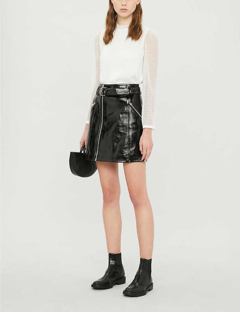 Claudie Pierlot Casino patent-leather mini skirt