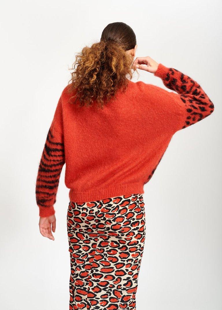 Essential Antwerp off-white leopard-print silk pencil skirt back view