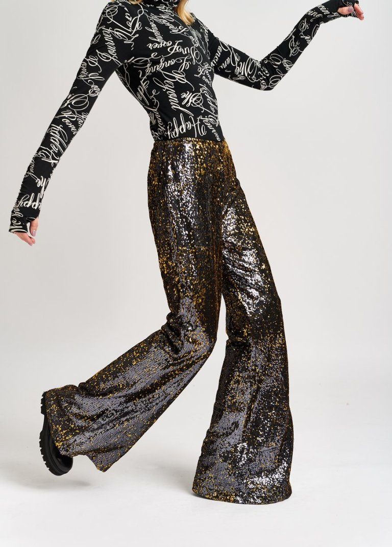 Essentiel Antwerp Black and Gold Sequinned Flared Pants