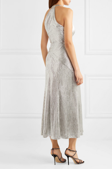 Galvan Halterneck Textured-lame Midi Dress back view