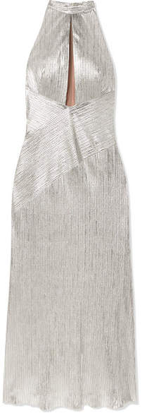 Galvan Halterneck Textured-lame Midi Dress