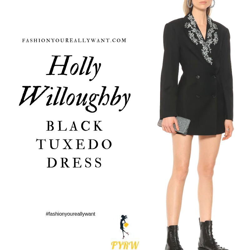 How to find Holly Willoughby crystal embellished black tuxedo jacket dress September 2019