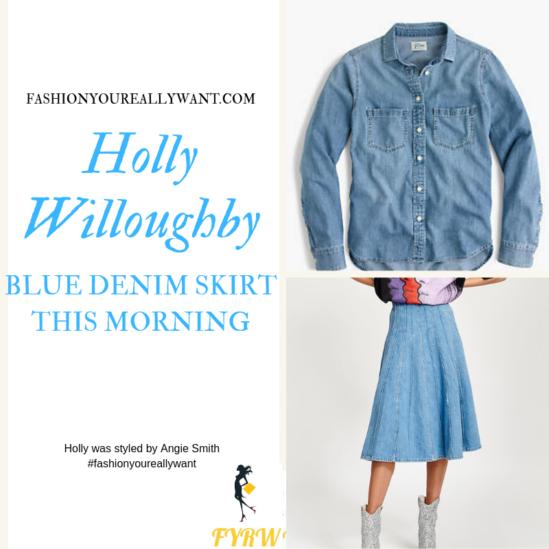 How to find Holly Willoughby This Morning outfit today denim panelled midi skirt blue chambray denim shirt nude suede court shoes blog September 2019