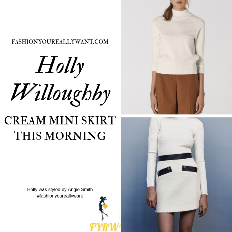 Holly Willoughby Wore a cream and black tweed skirt with cream polo neck and black ankle boots on  This Morning today September 2019 outfit blog
