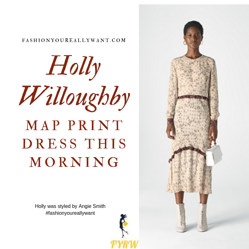 Holly Willoughby Wore a cream map print dress with burgundy trim and nude suede court shoes on  This Morning today blog September 2019