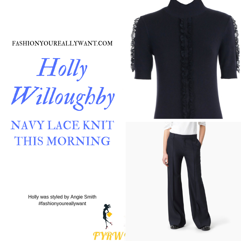 Holly Willoughby wore a navy lace short sleeve knit top and navy trousers on This Morning today blog September 2019
