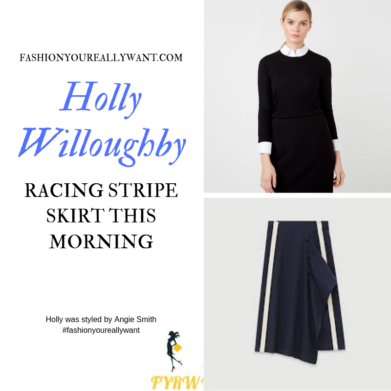 Holly Willoughby wore a navy black and white stripe skirt with black sweater and black suede court shoes on  This Morning today outfit blog September 2019