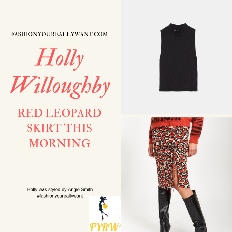 How to find Holly Willoughby This Morning outfit today red black and white leopard print pencil skirt black sleeveless top black sandals September 2019