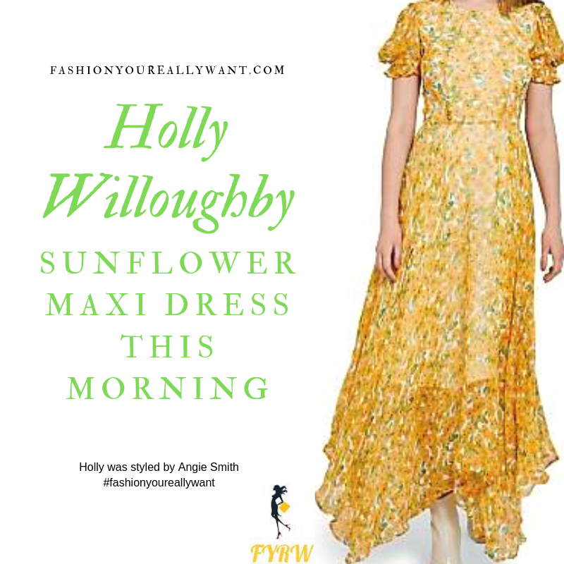How to find Holly Willoughby This Morning outfit yellow sunflower floral maxi dress nude suede court shoes blog September 2019