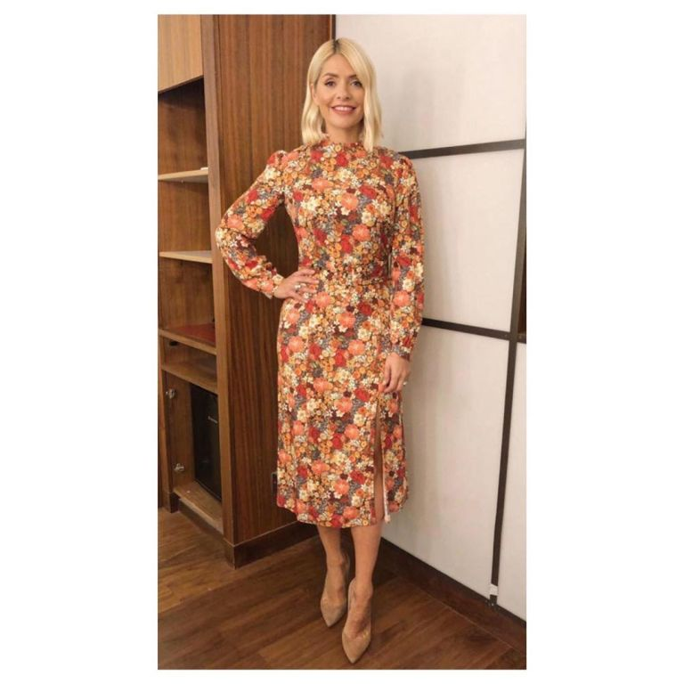 How to find Holly Willoughby brown and pink floral dress nude suede court shoes This Morning outfit today September 2019 Photo Holly Willoughby