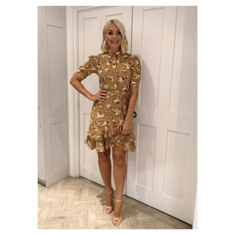 how to find Holly Willoughby brown floral ruffle dress TV Choice Awards September 2019