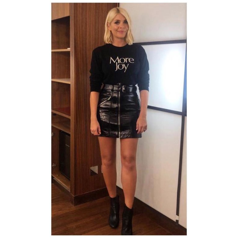 How to find Holly Willoughby Celebrity Juice outfit black More Joy sweater black leather mini skirt black ankle boots September 2019 Photo Holly Willoughby