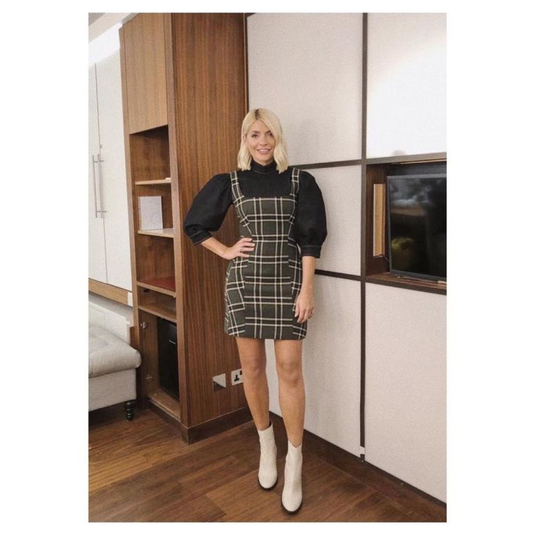 How to Find Holly willoughby checked mini dress black top white ankle boots Celebrity Juice September 2019 Photo Holly Willoughby