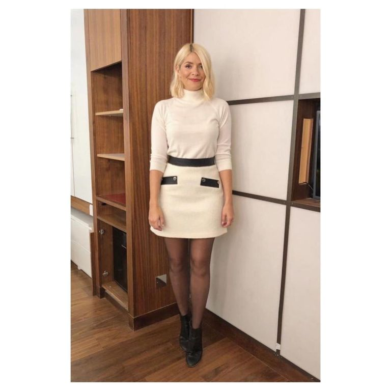 How to find Holly Willoughby cream and black tweed mini skirt cream polo neck black ankle boots This Morning today September 2019 Photo Holly Willoughby