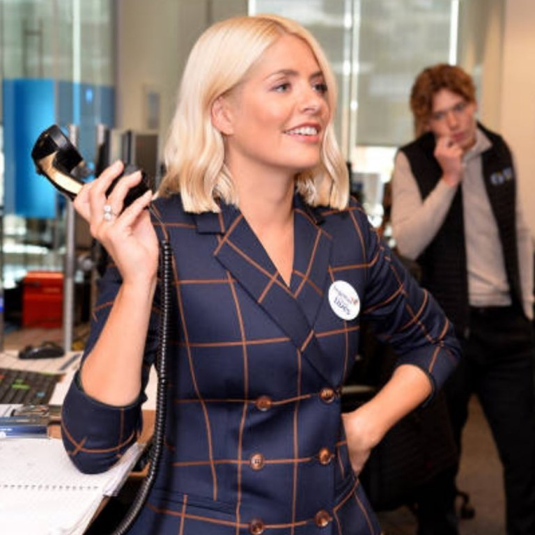 how to find holly willoughby navy and brown check jacket together for short Lives event Photo Angie Smith