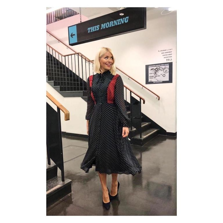 how to find Holly Willoughby navy spot dress This Morning outfit today September 2019 Photo Holly Willoughby