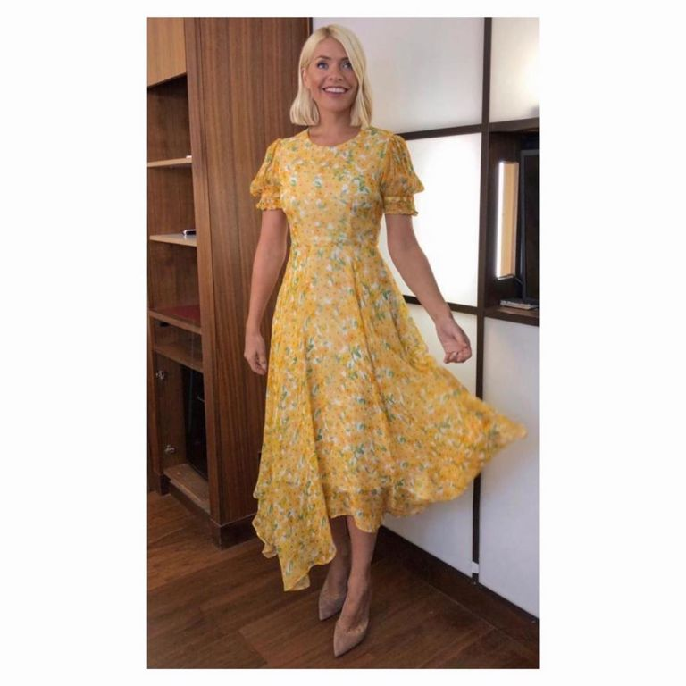 How to find Holly Willoughby This Moring outfit today sunflower yellow maxi dress nude suede court shoes September 2019 Photo Holly Willoughby