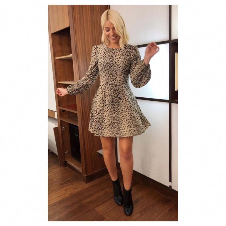 How to find Holly Willoughby This Morning leopard print mini dress black ankle boots This Morning today September 2019 Photo Holly Willoughby