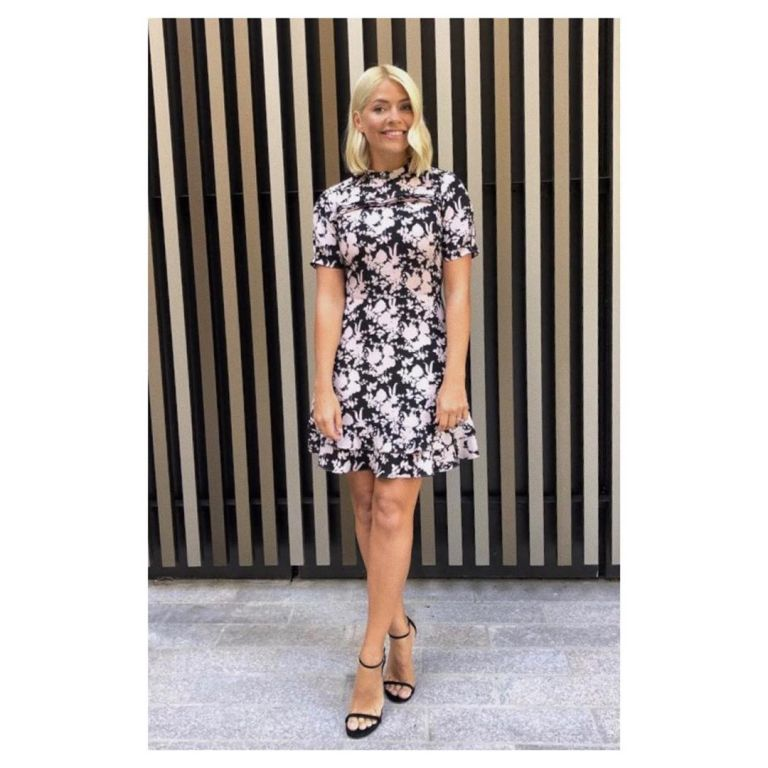 How to find Holly Willoughby This Morning outfit today black and white floral dress black sandals September 2019 Photo Holly Willoughby