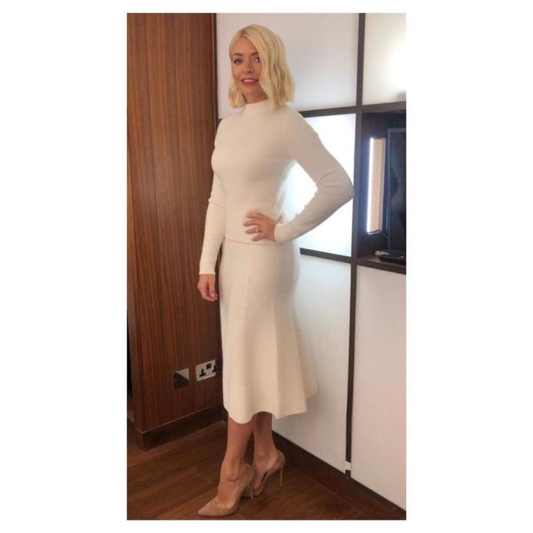 how to find Holly Willoughby This Morning outfit today cream ecru ribbed top and skirt nuded suede court shoes September 2019 Photo Holly Willoughby