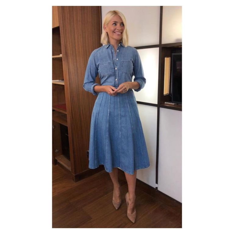 how to find Holly Willoughby This Morning outfit today denim midi skirt denim shirt nude suede court shoes September 2019 Photo Holly Willoughby