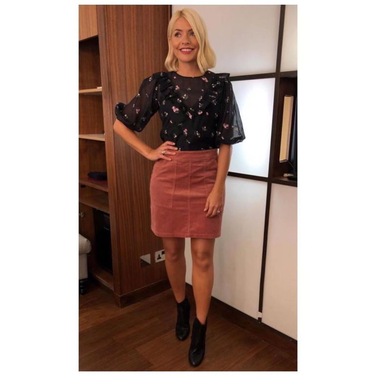 how to find Holly Willoughby This Morning outfit today embroidered sheer black top pink cord skirt black boots September 2019 Photo holly Willoughby