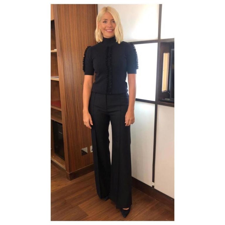 how to find Holly Willoughby This Morning outfit today nvy short sleeve knit navy wide trousers September 2019 Photo Holly Willoughby