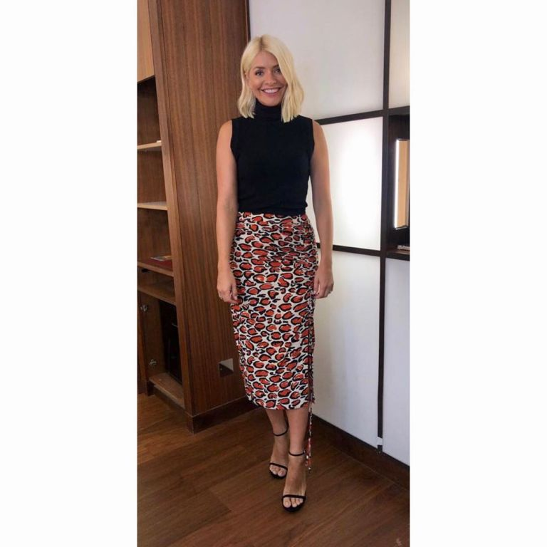how to find Holly Willoughby This Morning outfit today red leopard pencil skirt black sleeveless top black sandals September 2019 Photo Holly Willoughby