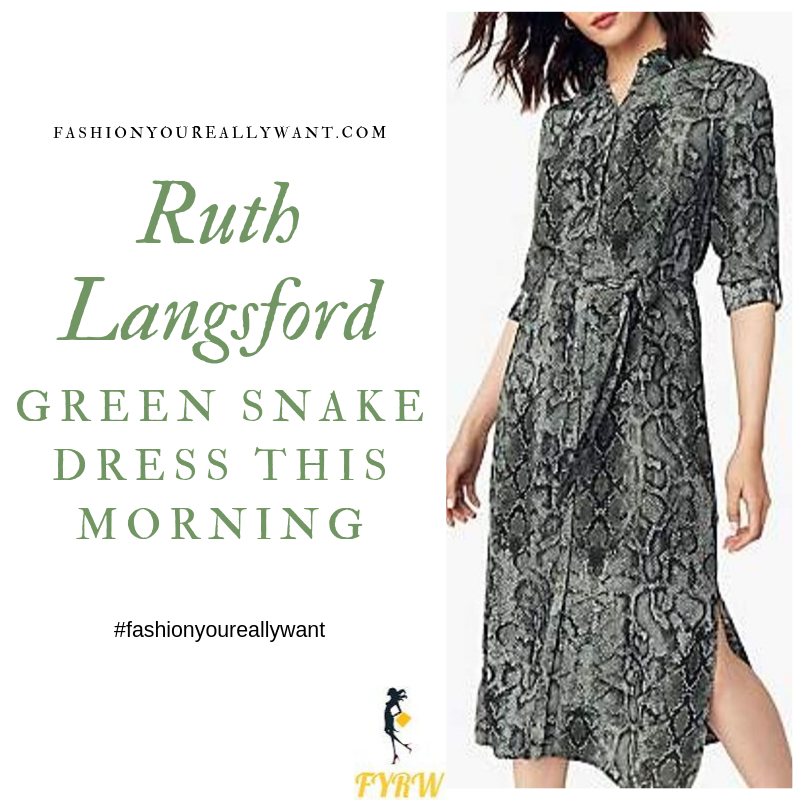 How to Find Ruth Langsford green grey snake print shirt dress This Morning outfit today blog September 2019