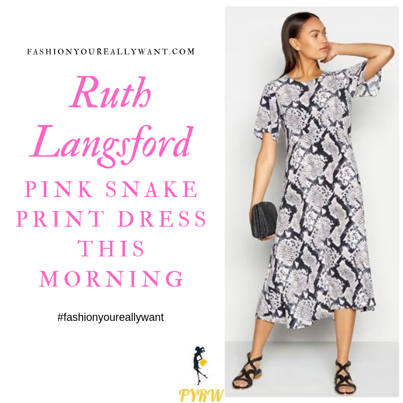 How to Find Ruth LangsfordPink Snake Print Midi Dress This Morning September 2019 outfit blog