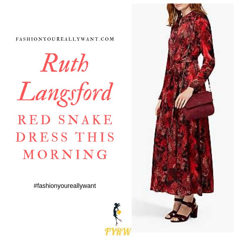 How to find Ruth Langsford This Morning outfit today Red Snake satin Dress September 2019