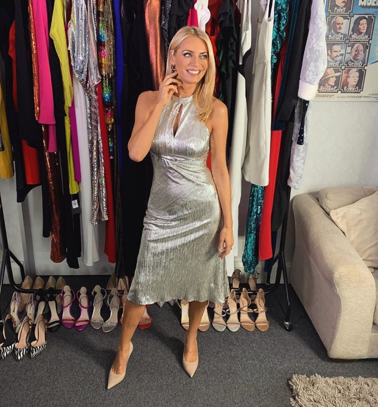 how to find Tess Daly silver halterneck dress Strictly September 2019 Photo James Yardley
