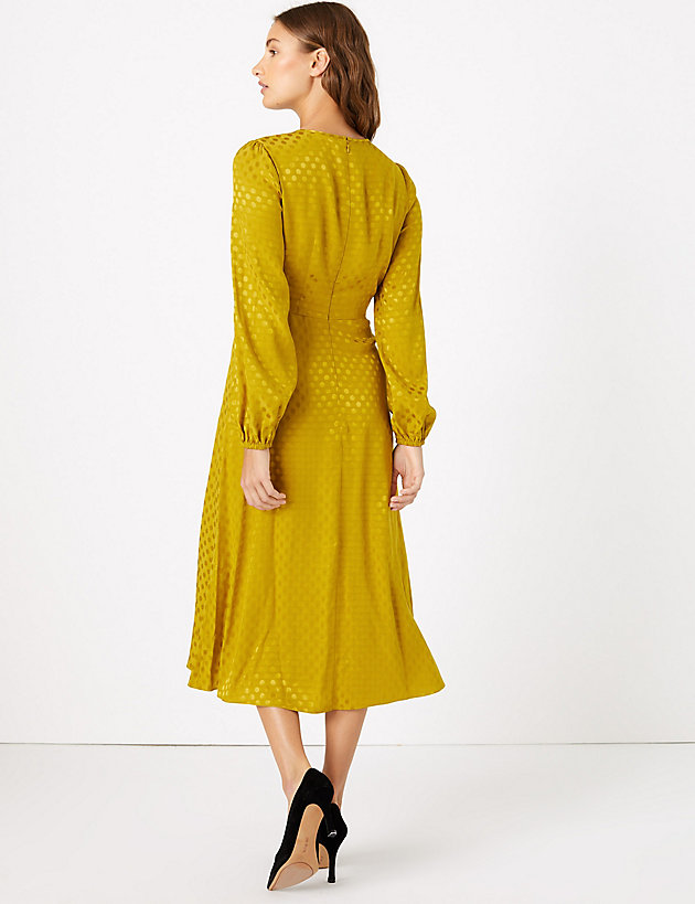 Jacquard Spot Fit & Flare Midi Dress back view