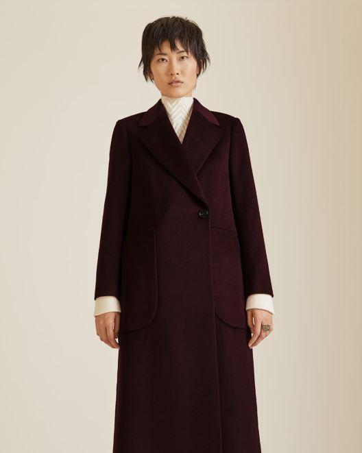 Jigsaw Long Maxi City Coat in plum rose