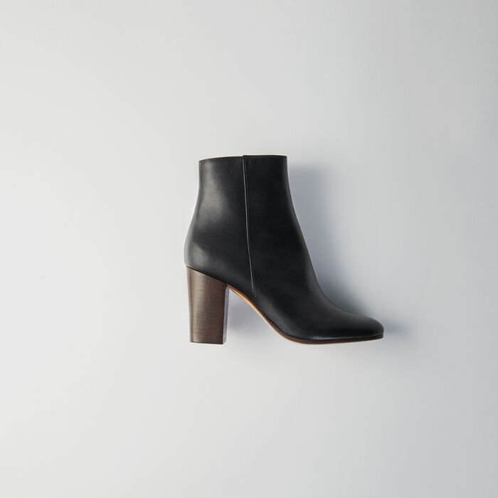 Maje Heeled Smooth Leather Booties