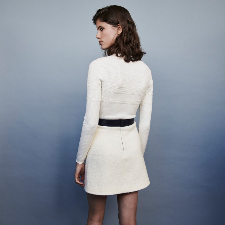 Maje Jemma Tweed Style Contrast Pencil skirt back view