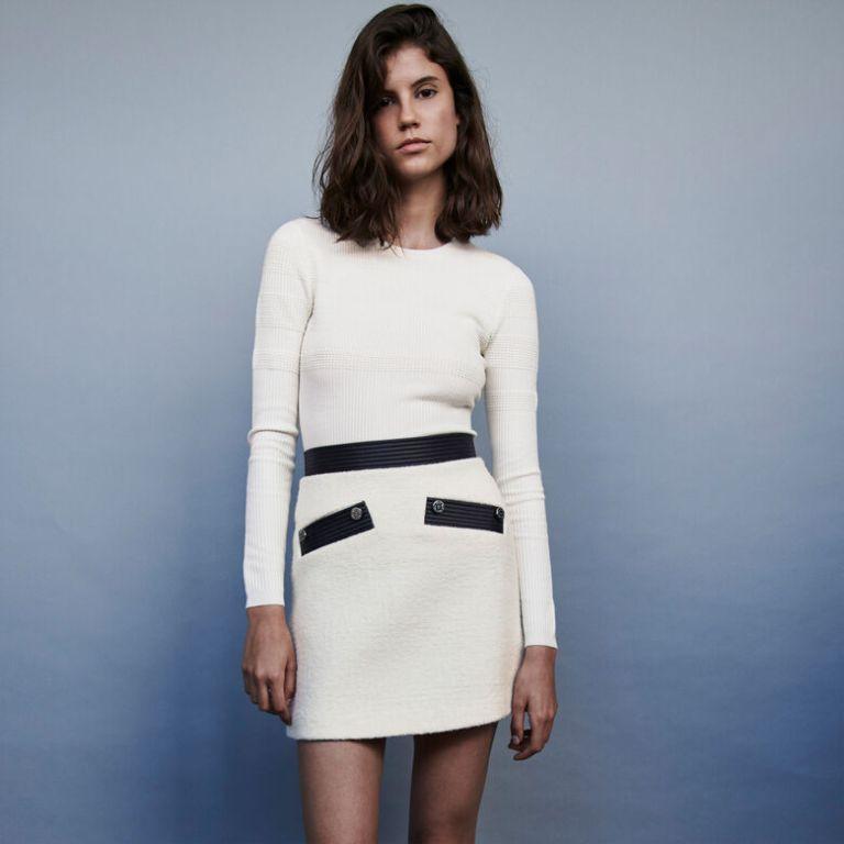 Maje Jemma Tweed Style Contrast Pencil skirt