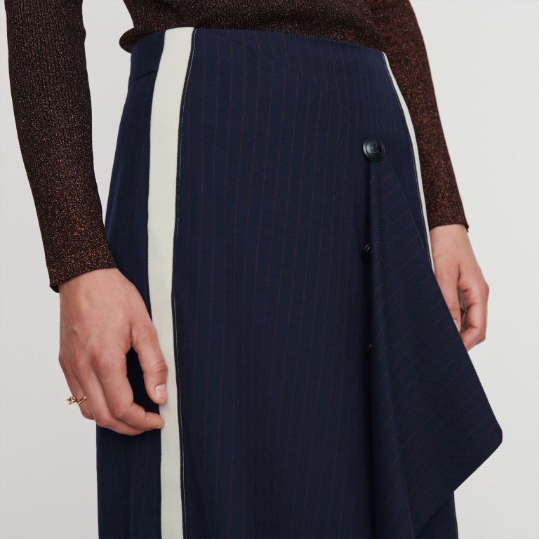 Maje Jidaia Striped Drape-Detail Midi Skirt close up