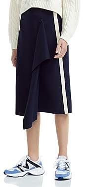Maje Jidaia Striped Drape-Detail Midi Skirt