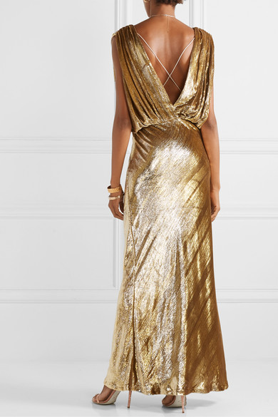 Mes Demoiselles Helen Draped Metallic Velvet Maxi Dress back view