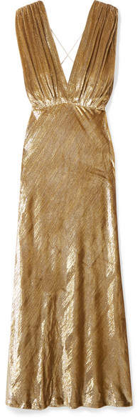 Mes Demoiselles Helen Draped Metallic Velvet Maxi Dress