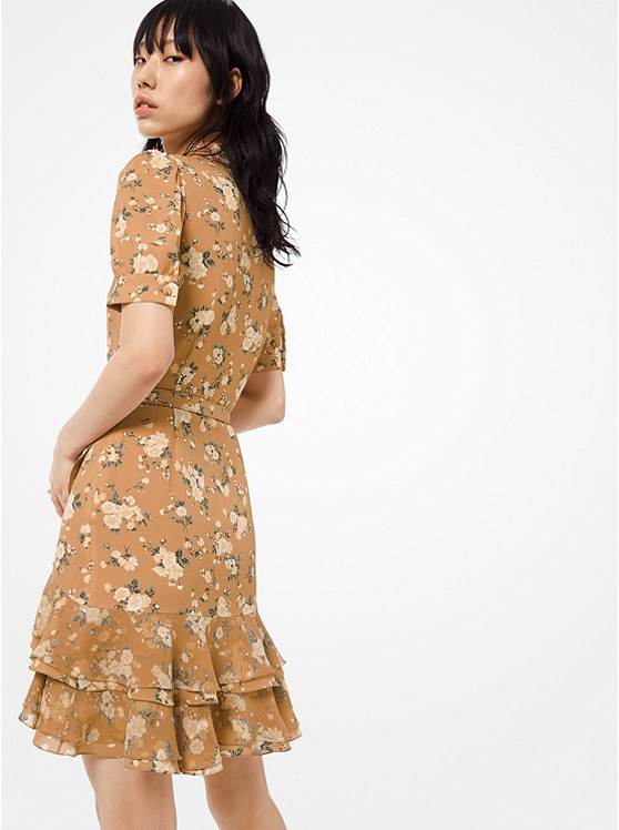 Michael Kors Collection Floral Silk-Georgette Mini Shirtdress back view