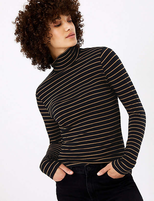 M&S Collection Striped Polo Neck