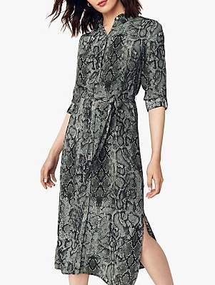 Oasis Snake Print Midi Shirt Dress