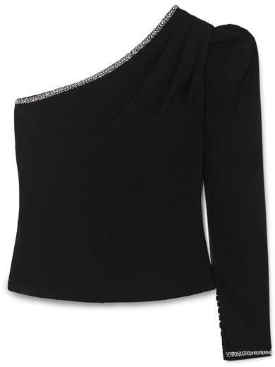 Self-Portrait - One-shoulder Embellished Crepe Top