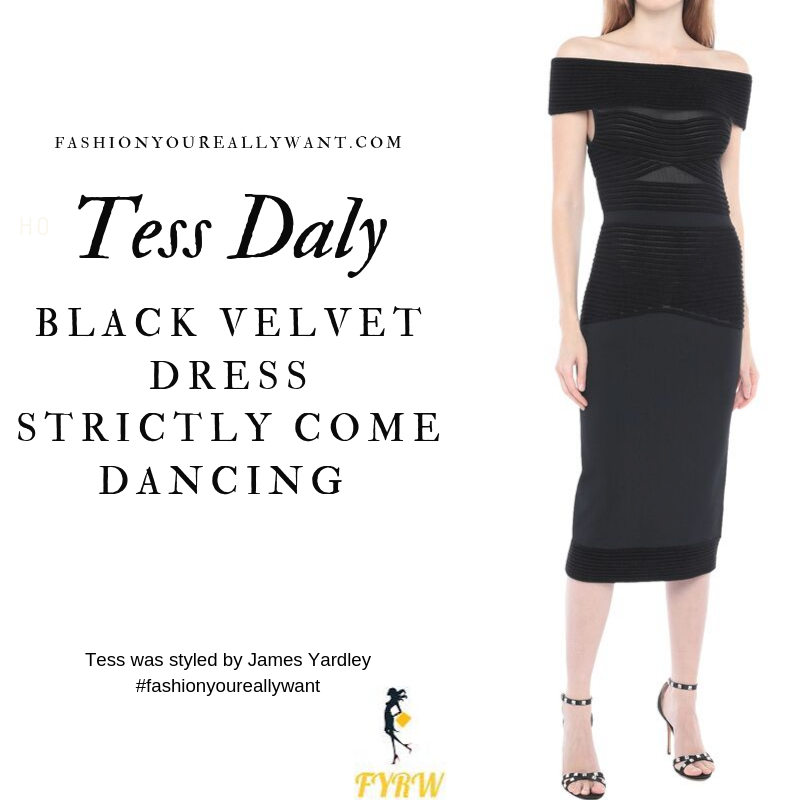 Tess Daly Wore a black velvet off the shoulder dress and nude sandals on the Strictly Come Dancing Week 2 Results Show September 2019 outfit blog
