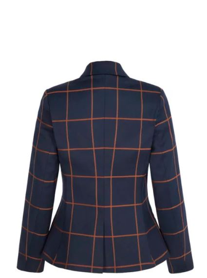 The Fold Astwood Jacket Toffee and Navy Check Wool back view